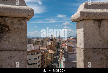 View from Torres De Quart (Quart Towers), part of the former old city walls, Guillem de Castro, Barrio Del Carmen district, Valencia, Spain - Stock Image