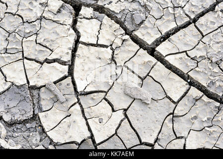 Cracked arid mud earth with large fissures and splits in the earth surface with copy space area for drought environmental - Stock Image