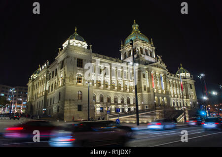 The National Museum reconstructed its historical building at Vaclavske namesti (Wenceslas Square), Prague, Czech Republic, on the November 12, 2018 ph - Stock Image