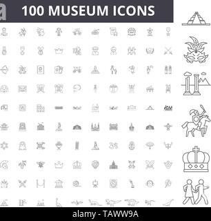 Museum line icons, signs, vector set, outline illustration concept  - Stock Image