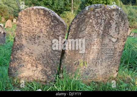Gravestones in Kirkut, Jewish cementery, Lutowiska, Bieszczady, south-eastern Polanf Europe - Stock Image