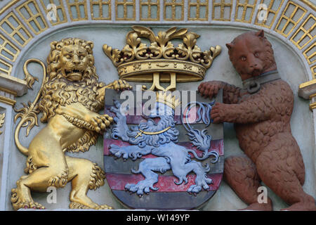 Heraldic lion and bear, town hall Coat of arms , the city arm of Bruges, Belgium, Europe. - Stock Image