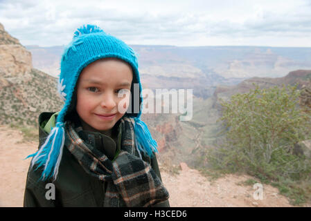 Boy at the Grand Canyon, Arizona, USA - Stock Image