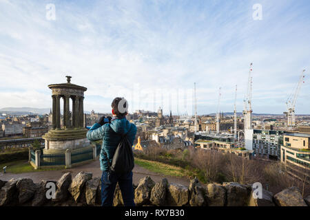 EDINBURGH, SCOTLAND - FEBRUARY 9, 2019 - Calton Hill, east of the New Town, is at the bottom of Princes Street. The views from Calton Hill - Stock Image
