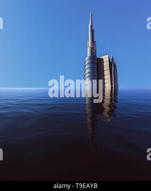 Digital manipulation of single flooded skyscraper with copy space. - Stock Image