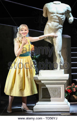 Royal Festival Hall, London, UK, 12th June 2019. Dove Cameron as youthful and naive Clara Johnson, who blushes at a cheeky Italian statue's manhood. Tony Award Winning romantic musical 'The Light in the Piazza' will be making its London premiere at the Royal Festival Hall on Wednesday 12th June and will run 14th June to 5th July. It stars soprano superstar Renée Fleming and Dove Cameron, star of Disney's 'The Descendants', as well as Alex Jennings, Rob Houchen, Celinde Schoenmaker and many others. Credit: Imageplotter/Alamy Live News - Stock Image