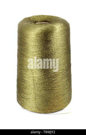 Bobbin of nylon thread khaki isolated on white - Stock Image