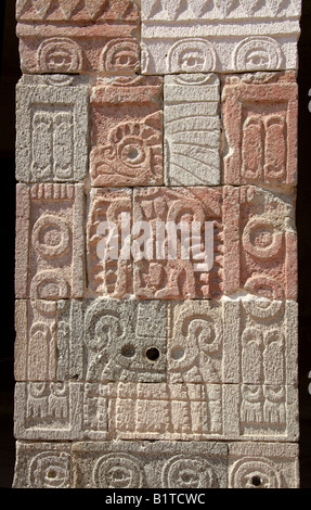 Stone Carvings at the Plaza of the Moon, Teotihuacan, Mexico - Stock Image
