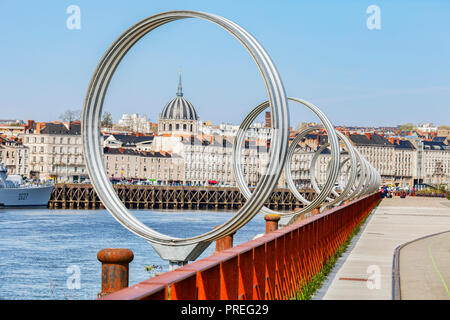 The Rings by Daniel Buren and Patrick Bouchain, the ship is the French destroyer Maille Breze, decommissioned in 1988 when she became a museum ship at - Stock Image