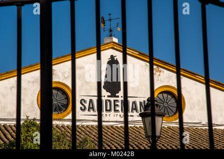 JEREZ DE LA FRONTERA, ANDALUSIA / SPAIN - OCTOBER 11 2017: METAL GATE OF BODEGA SANDEMAN - Stock Image