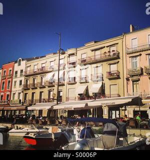 A street scene in sete, France, looking from the canal - Stock Image