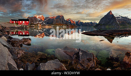 Norway village Reine with mountain, panorama - Stock Image