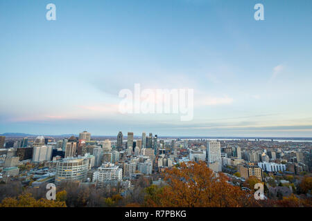 Montreal skyline, with the iconic buildings of the Downtown and the CBD business skyscrapers taken from the Mont Royal Hill. Montreal is the main city - Stock Image