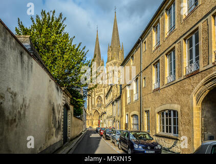 The picturesque town of Bayeux France in the Normandy region with it's massive gothic cathedral of Our Lady - Stock Image