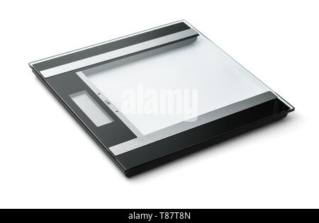 New glass digital weight scales isolated on white - Stock Image