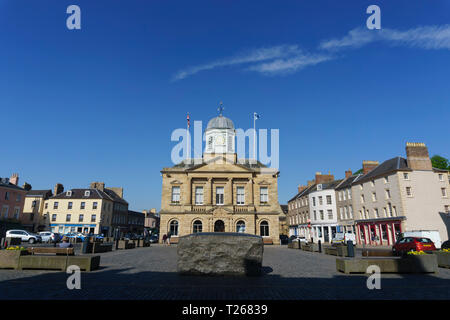 The Kelso Stone, artwork in the market square of the Scottish Border town which has the names of surrounding farms, estatwes and villages written on i - Stock Image