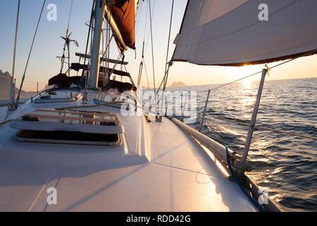 Sail boat off of the city of Rio de Janeiro, Brazi - Stock Image