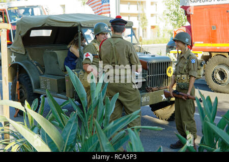 A Dodge WC-56 and US Soldiers  during the 74th Anniversary of Operation Dragoon, the Allied invasion of the French Riviera (15 - 26 August 1944) - Stock Image