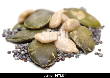 poppy sunflower and pumpkin seeds cut out - Stock Image