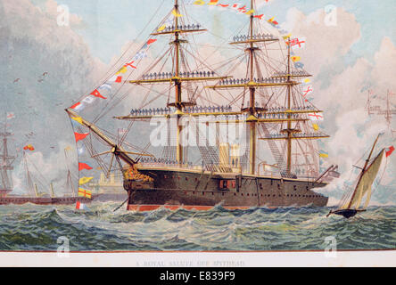 Lithograph Royal naval salute off Spithead circa 1885 - Stock Image