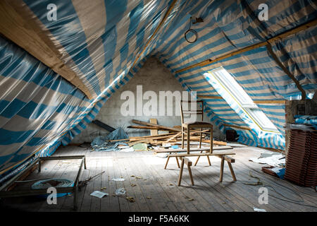 Restoring the attic of the house - Stock Image