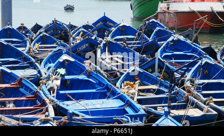 tyraditional blus fishing boats moored in Essaouira, Morocco.  Ready to fish - Stock Image