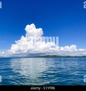 Blue sky and clouds. Nadi, Fiji. - Stock Image