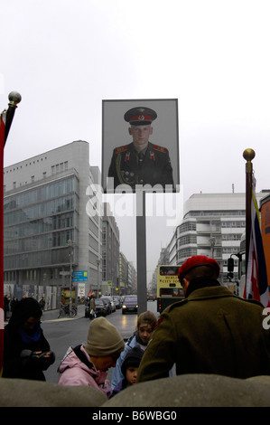 checkpoint charlie berlin sandbags tourists travel germany deutschland real DDR east ost - Stock Image