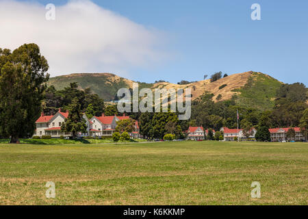 Cavallo Point Lodge, The Lodge at the Golden Gate, hotel, rooms and lodging, Fort Baker, city of Sausalito, Sausalito, Marin County, California - Stock Image