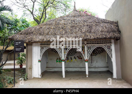 Exhibit of a Rajwar hut from Chhattisgarh in the National Crafts Museum, New Delhi, India - Stock Image