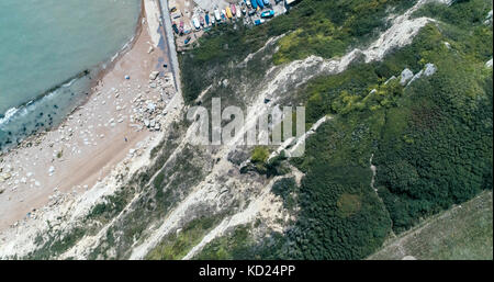 Aerial top down view from a white cliff to the beach in Hastings, Southern England - Stock Image