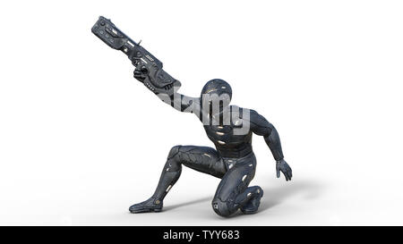 Futuristic android soldier in bulletproof armor, military cyborg armed with sci-fi rifle gun crouching and shooting on white background, 3D rendering - Stock Image