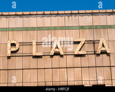 Port Talbot Plaza cinema sign, derelict since 1999.  West Glamorgan, Wales UK. - Stock Image