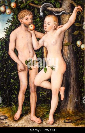 Lucas Cranach the Elder, Adam and Eve, painting, c. 1538 - Stock Image