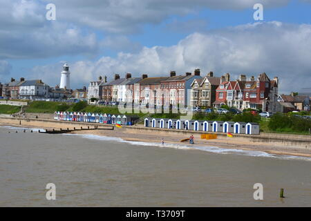 View of the beach from the pier, at Southwold seaside resort in Suffolk, UK - Stock Image