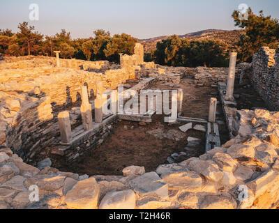 Ruins of an old greek church at Aliki Port (Aliki Marble Port) in Thasos, Greece - Stock Image
