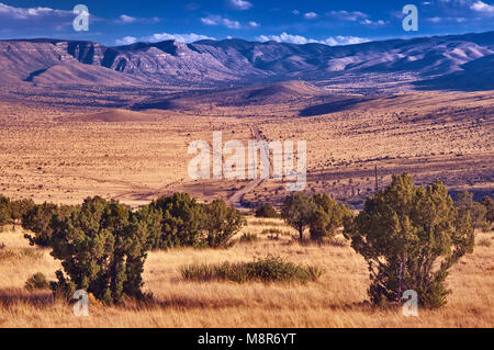 Dog Canyon area in Guadalupe Mountains National Park in Texas, view from El Paso Gap on Guadalupe Back Country Byway - Stock Image
