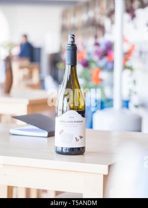 Setubal, Portugal - February 02, 2018: Wine tasting at Quita do Piloto in Setugal wine region, Portugal. - Stock Image