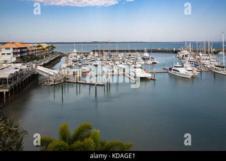 Luxury boats including some used for whale watching tourism moored at the  Hervey Bay Marina, Queensland, Australia - Stock Image