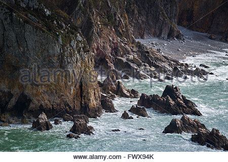 Cliffs near Crozon in Brittany (France) - Stock Image
