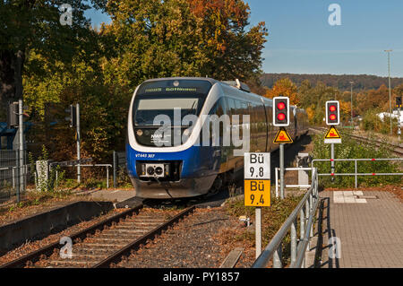 Local train arriving at Bad Driburg station, NRW, Germany. - Stock Image