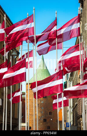 Latvia Riga flag, view of Latvian national flags on display in the center of Riga with the roof of the Powder Tower in the background, Latvia. - Stock Image