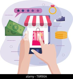 hands with smartphone technology to online shopping vector illustration - Stock Image