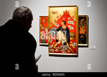 Prague, Czech Republic. 18th Jan, 2019. Exhibition 'Force of Act. Jan Palach and Jan Zajic In Art Between 1969 and 2009' was opened in the Museum Kampa in Prague, Czech Republic, on January 18, 2019. On the photo is seen painting called 'Prague Piety' by Alena Koenigsmarkova. Credit: Vit Simanek/CTK Photo/Alamy Live News - Stock Image