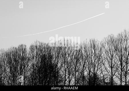 Plane wake turbulence - Stock Image