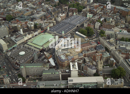Aerial view of St Bartholomew's Hospital in London which is sometimes called Bart's Hospital. Also featured is Smithfield Market - Stock Image