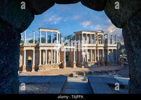 Roman theatre of the Roman colony of Emerita Augusta (Mérida) dedicated by the consul Marcus Vipsanius Agrippa and built in 15BC, Merida Spain - Stock Image
