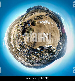 Tiny planet picture of famous ski resort Cortina d'Ampezzo, Dolomites, Italy - Stock Image