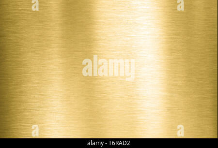 Gold metal brushed plate or texture - Stock Image