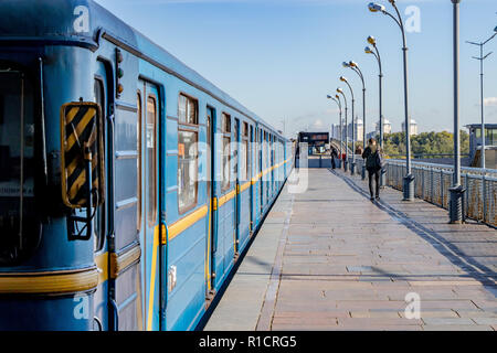 a train with passengers of the Kiev Metro at the station Kiev, Ukraine 06.11.2018 - Stock Image